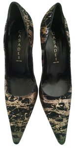 Casadei Gold and Black abstract Pumps