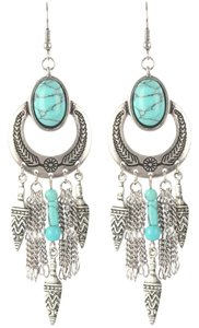 Other Boho Dream Catcher Tribal Feather Turquoise Earrings