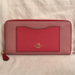 Coach Leather Wallet Zipper Around Wallet Handbag Pink Red Clutch