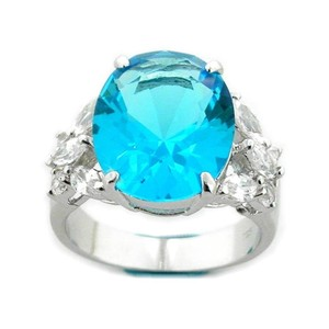 RLSS Sterling Silver 3 CARAT Oval Cut Blue Topaz w/White Topaz Accents