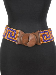 Other BOHO JEANS BELT WOODEN BUCKLE STRETCH LUCITE BEAD