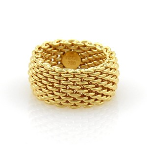 Tiffany & Co. SOMERSET 18k Yellow Gold 10mm Wide Mesh Band Ring Size 7