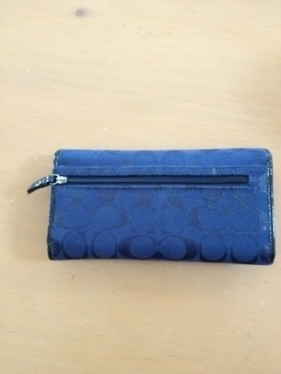 Coach Blue Pleated Signature Coach Wallet