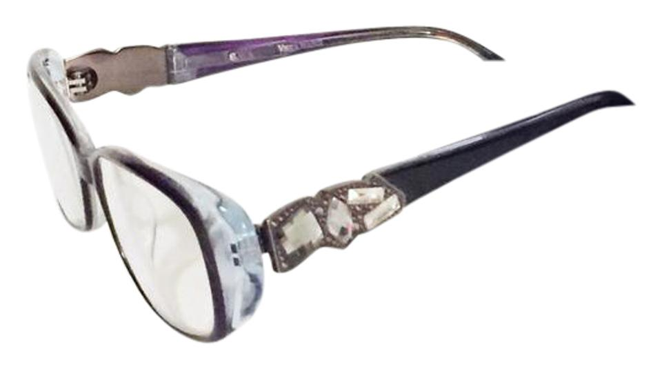d991b1b5891 Vera Wang Purple Rhinestone Bejeweled Crystal Abstract Eyeglass Lens Frames  Sunglasses