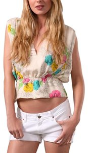 Boulee Designs Natalie Silk Floral Printed New V Neck Open Back High Low Classic Top Cream