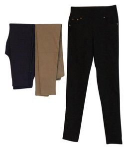 Kathy Van Zeeland black, tan & navy Leggings