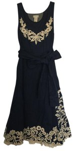 Anthropologie short dress Navy with cream detailing on Tradesy