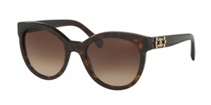 Chanel NEW Chanel 5315 Havana Brown Gold Le Boy Logo Round Sunglasses