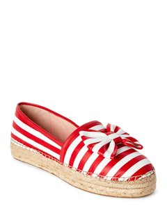 Kate Spade Espadrilles Bow Size 7 Red And White White, Red Flats