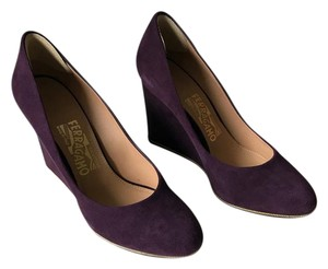 Salvatore Ferragamo Suede Pump Purple Wedges