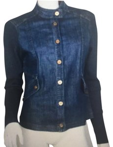 St. John Denim. Navy. Blue. Gold. Womens Jean Jacket