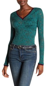 Free People Lace Stretchy Sz Large Green W/ Maroon Trim New Without Tags C-a-m-i Sweater
