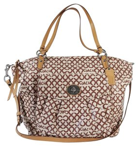 Coach Extra Large Xl Canvas Leather Rare Tote in Cream & Brown
