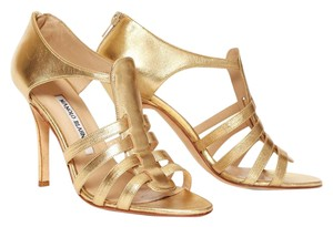 Manolo Blahnik Leather Gold Stiletto Night Out Date Night Gold Leather Sandals