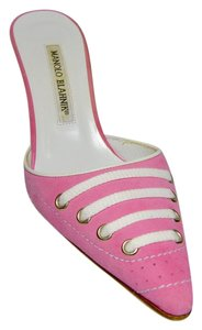 Manolo Blahnik Laces Suede Like New Pink Mules