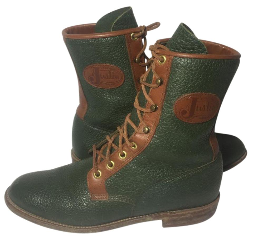 8c1165de2036 Justin Boots Green L0553 Leather Lace Up Women s Boots Booties Size US 7.5  Regular (M