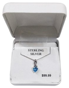 Other Sale!! New Solid 925 Sterling Silver Genuine Blue Topaz Heart Necklace