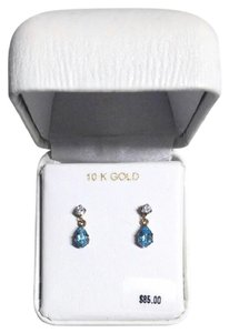 Other New Solid 10K Gold 6x4 Blue Topaz Dangle Stud 10KT Gold Earrings