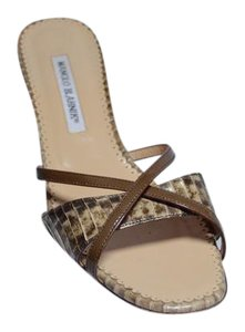 Manolo Blahnik Python Beige/Brown Sandals