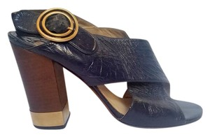 Chlo Leather Buckle Navy Stacked Navy Blue Sandals