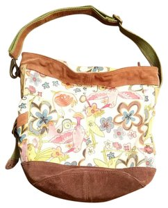 Lucky Brand Suede Leather Canvas Extra Large Hobo Bag