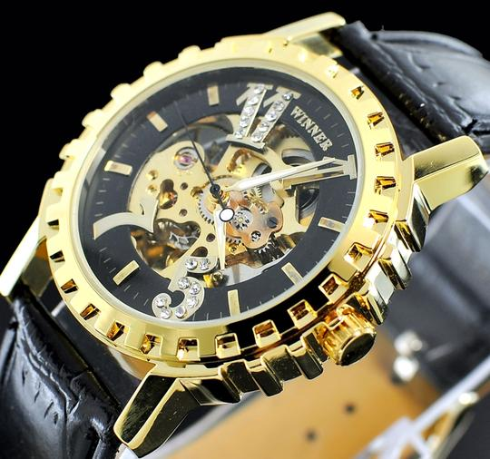 Portofino Men's Automatic Mechanical Skeleton Watch Black Face With Gold Case Leather Band-FREE SHIPPING