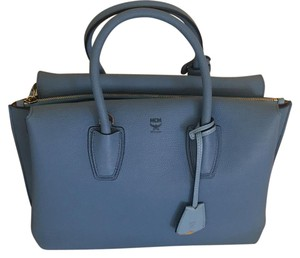 MCM Satchel in Tile Blue