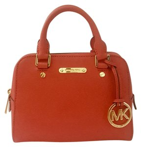 Michael Kors Leather Satchel in Watermelon