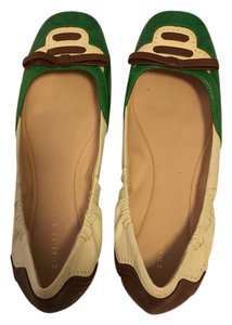 Charles & Keith Leather Excellent Condition Bow Comfortable Green white and brown Flats