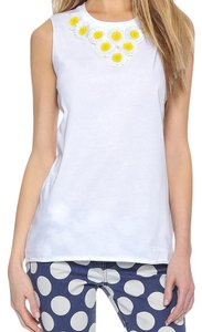 RED Valentino T Shirt White with white/yellow daisies in front by neckline