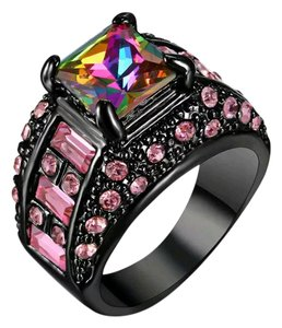 Kay Jewelers 14k Black Gold Filled Mystic & Pink Topaz Gemstone Statement Ring