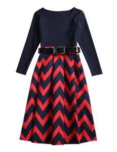 LS Striped New Trendy Rippled Dress