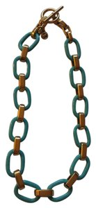 Michael Kors Modern Mix Link Turquoise Gold Tone Collar Necklace