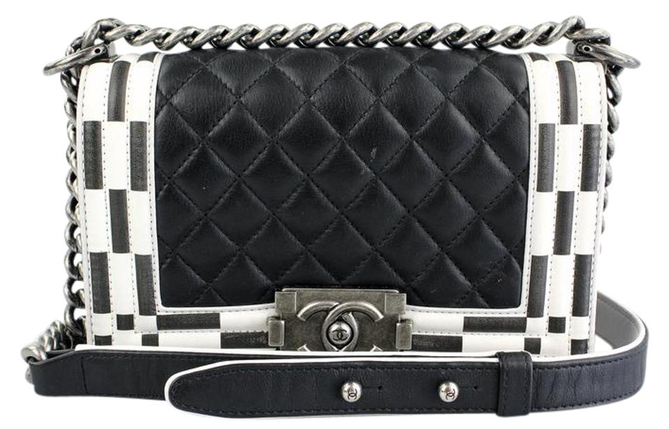 cccc93c17fd6 Chanel Boy Checkerboard Small Le Black and White Lambskin Leather ...