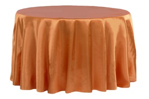 "Burnt Orange Satin 120"" Round Tablecloth"