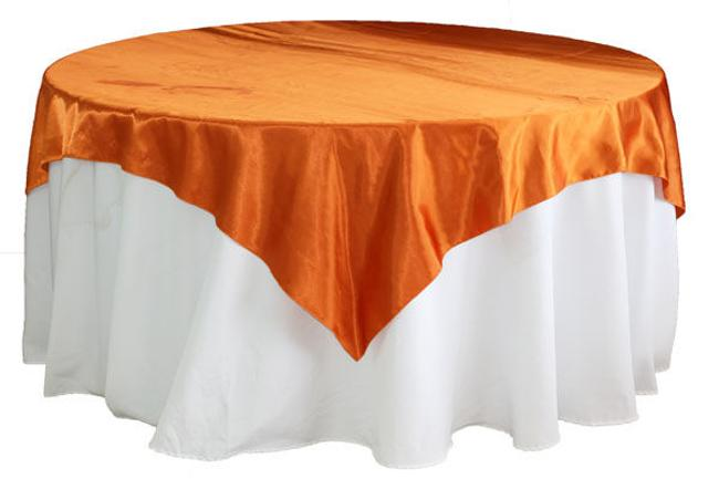 "Item - Burnt Orange Satin 72"" Square Tablecloth"
