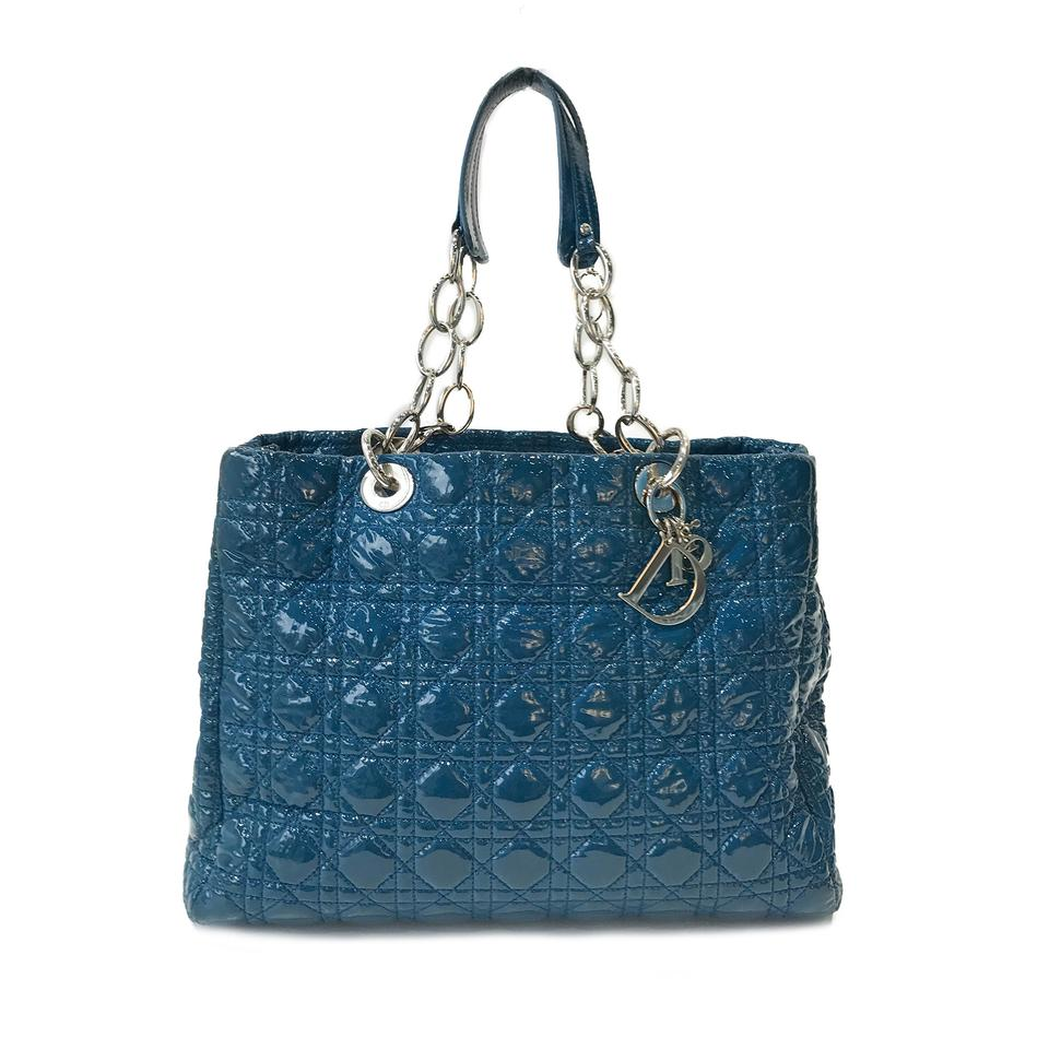Dior Christian Cannage Soft Shopping Blue Patent Leather ...