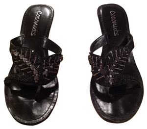 Coconuts Black with gold trim Sandals