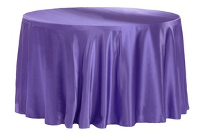 "6 Purple Satin 120"" Round Tablecloths"