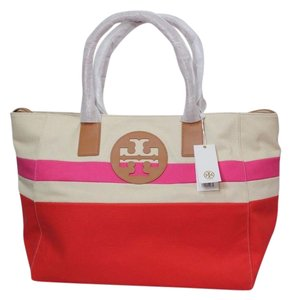 Tory Burch Beach Summer Canvas Logo Large Tote in Red Pink Natural