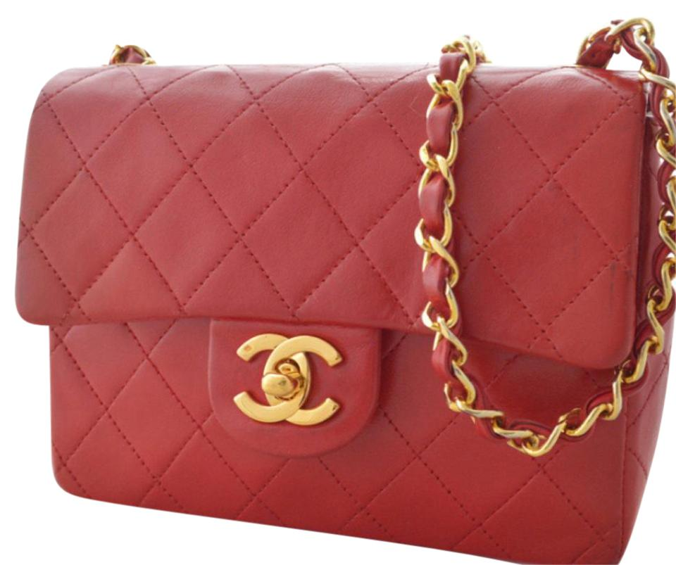 fab2ee1e1851 Chanel Classic Flap Vintage Mini Quilted Red Lambskin Leather Shoulder Bag