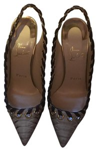 Christian Louboutin Brown and beige with gold tone and gold heel. Pumps