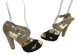 Aqua Ankle Crisscross Open Toe NEW Black suede leather gold glitter adjustable straps gold metal buckle party Platforms