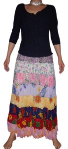 Sacred Threads Patchwork Hippie Gypsy Tiered Spring Maxi Skirt Multi-Color