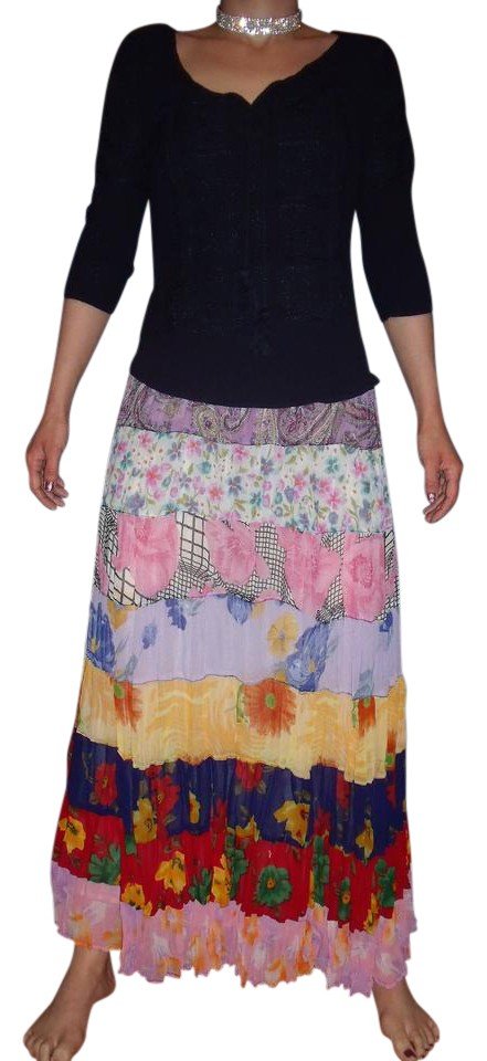 679178833f Sacred Threads Patchwork Hippie Gypsy Tiered Spring Maxi Skirt Multi-Color  Image 0 ...