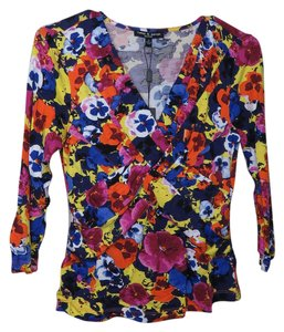Cable & Gauge Floral Bright Colorful Flower Top Multi-color