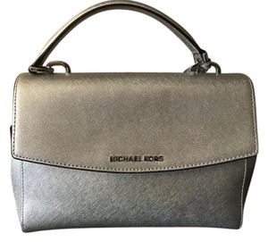 Michael Kors Ava Saffiano Leather Crossbody Satchel in Silver