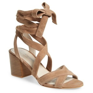 Kenneth Cole Suede Chunky Heel Tie Up Beige Sandals