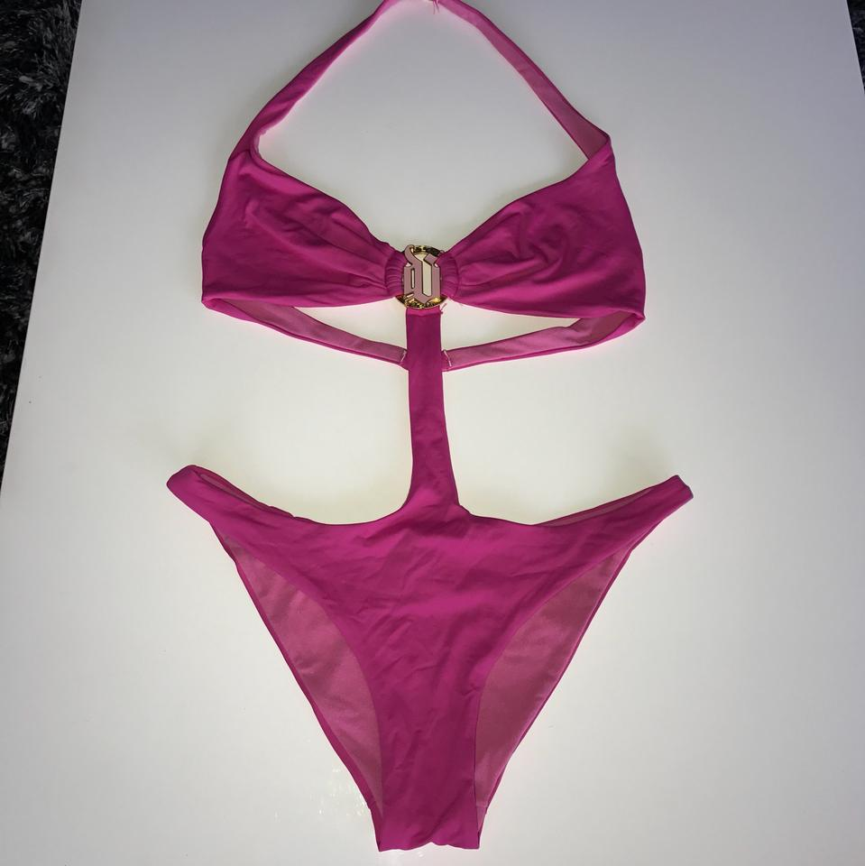9576427475 Versace Pink and Gold Donatella Monokini One-piece Bathing Suit Size 2 (XS)  40% off retail