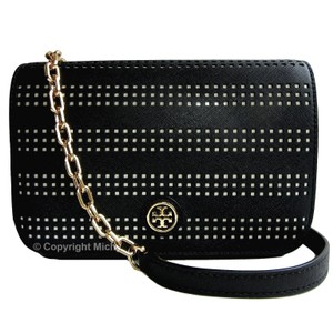 Tory Burch Leather Perforated Robinson Clutch Crossbody Shoulder Bag